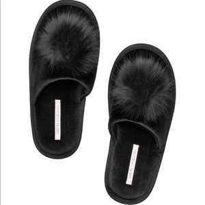 Victoria's Secret Shoes - Victoria's Secret Pom Pom Slippers - Black